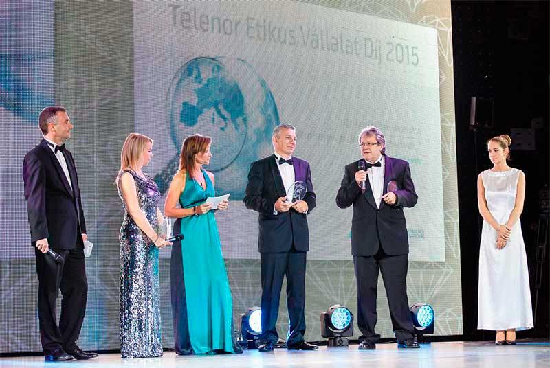 Telenor Etikus Vállalat Díj díjátadó a Grundfosnak és a Biofilternek